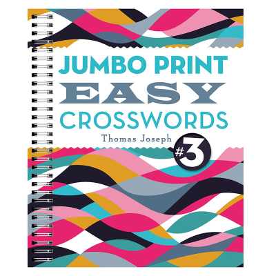 Brightly coloured front cover of Jumbo print easy crosswords book 3