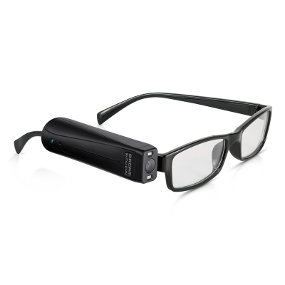 OrCam MyEye Assistive Eye Wear attached to a pair of glasses