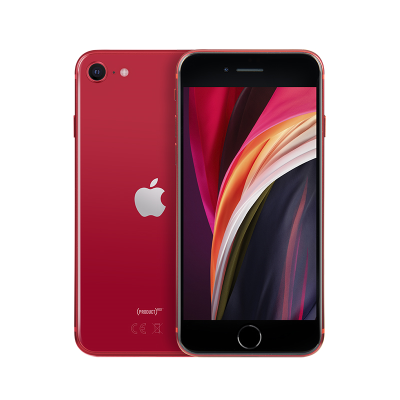 Red Apple iPhone SE 64GB front and back of phone shown.
