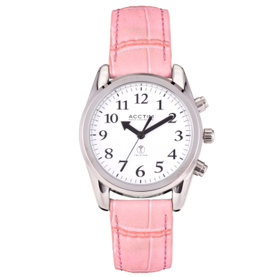 Small radio controlled talking watch with silver case, white face and pink strap