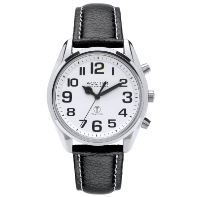 Front view of Peregrine talking watch against a white background