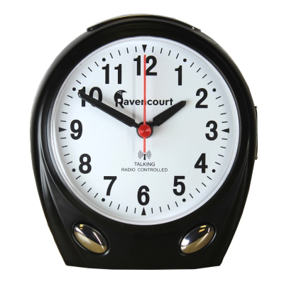 RNIB radio-controlled clock with black casing and clear white face with black numbers and hands.