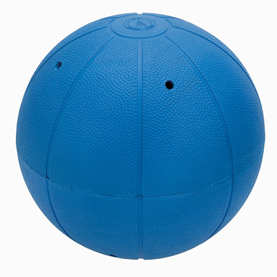 Large blue goalball with two of its eight holes visible