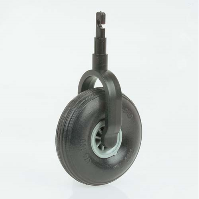 Black Ambutech rover tip -hook style with a large rubber whee
