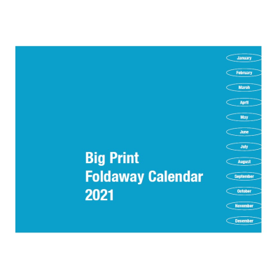 Front cover of 2021 Big Print foldaway calendar 2021