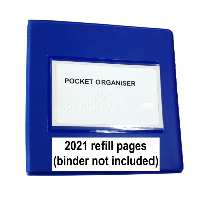 Pocket Organiser refill pages only, binder not included