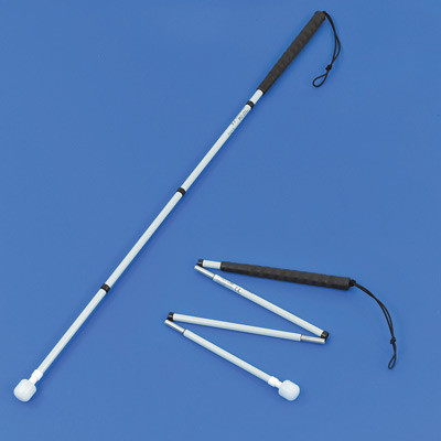 Graphite folding long cane with roller marshmallow tip extended for use and part-folded