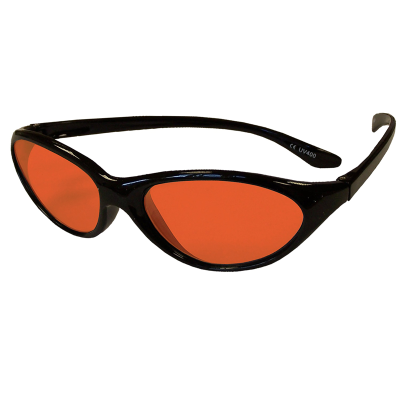 Side view of children's wraparound eyeshields with black frames and red/orange filter