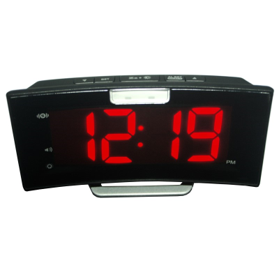 Front view of a large rectangular LED display alarm clock in black