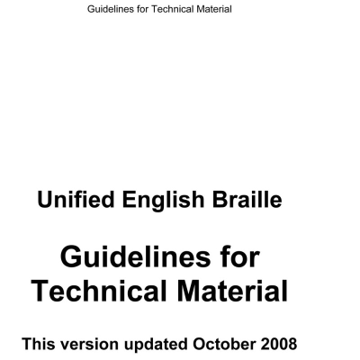 Front cover for guidelines for technical material UEB (MTO)