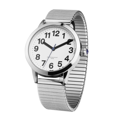 Face on angle of easy-to-see ladies' watch with expanding strap