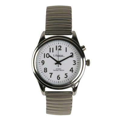 Face on view of the white faced watch with clear black numbers and hands and expanding strap