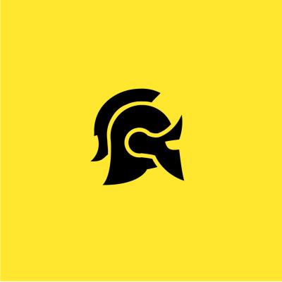 Black Roman helmet on a yellow background.