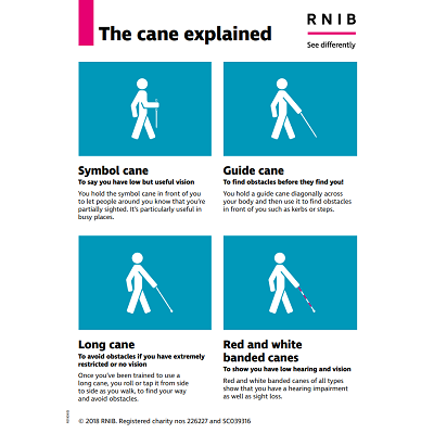poster image showing a stick man carrying various canes