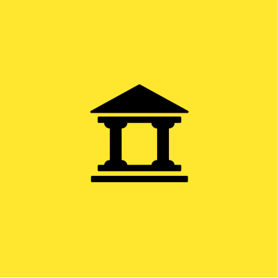 Black Roman temple on a yellow background