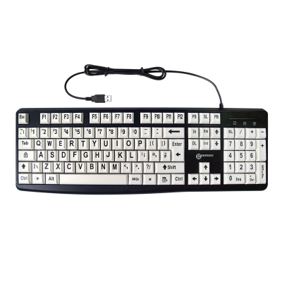 Keyboard with black letters on white keys