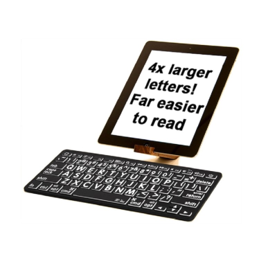 Large print Bluetooth mini keyboard with white on black keys