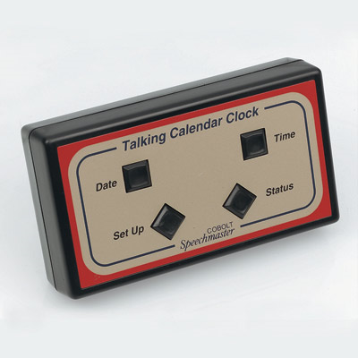 An angled black rectangular talking clock with four large tactile buttons visible
