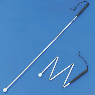 Aluminium fold long cane with roller extended for use and part-folded