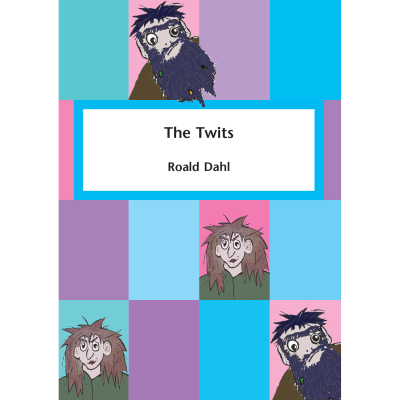 Coloured squares with pictures of twits with title and author.