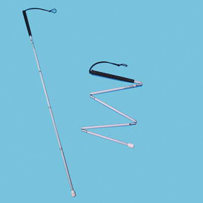 Aluminium fold long cane extended for use and part-folded