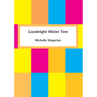 Multi-coloured squares with title and author