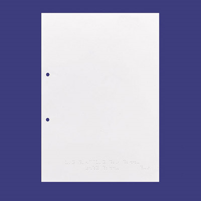 Sheet of punched white braille paper