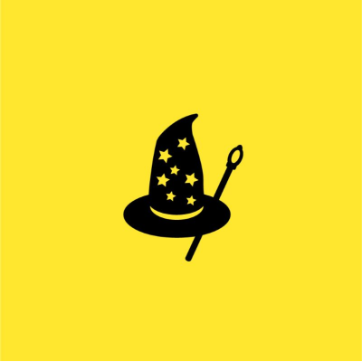 A yellow cover depicting a witches hat and wand