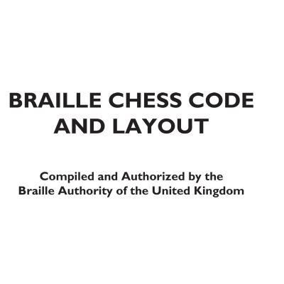 Front cover Braille Chess Code and Layout