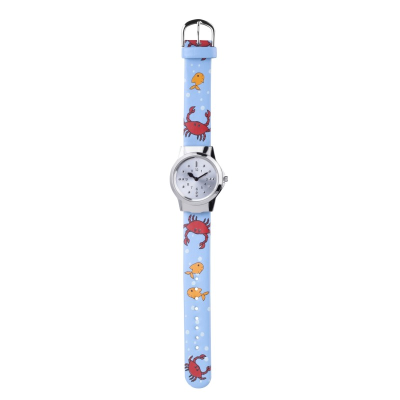 Children's watch with a stainless steel case, silver tone dial and a fun ocean theme strap