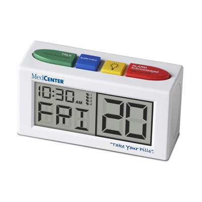 A digital alarm clock in white with four visible buttons on top