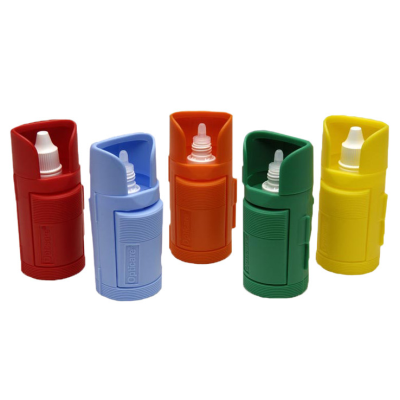 Five eye-drop dispensers multi colour
