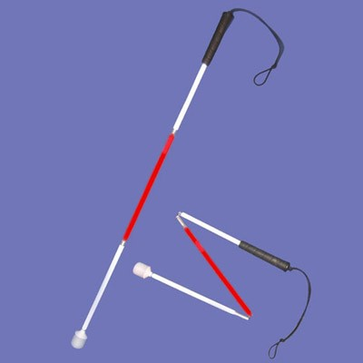 Child's aluminium cane 70cm in red and white