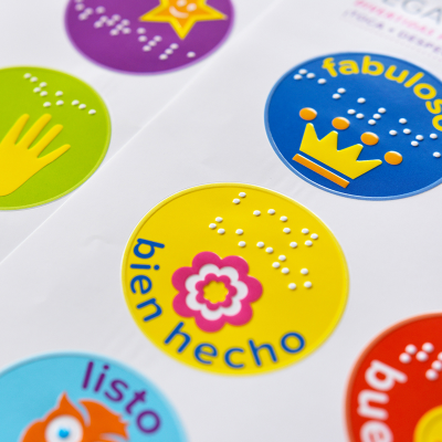 Close-up of Spanish tactile reward stickers