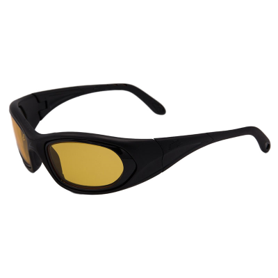 SideVue wraparound eyeshields with black frames and yellow filter