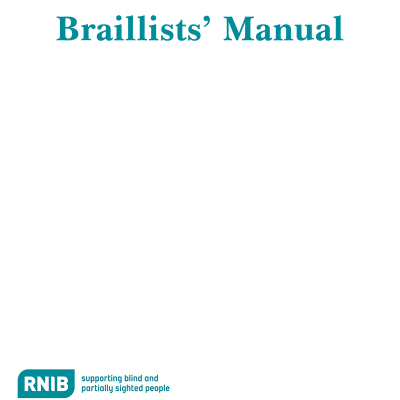 Front cover of the Braillists' manual for Standard English Braille (SEB), 2005 edition.