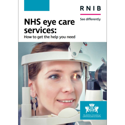 Booklet cover shows lady having an eye exam