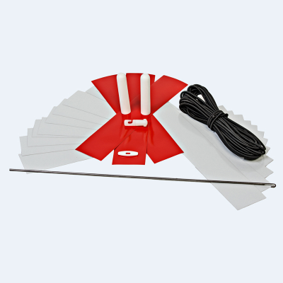 White; red reflective tapes push-on pencil tips cord hook tool; instructions and elastic cord