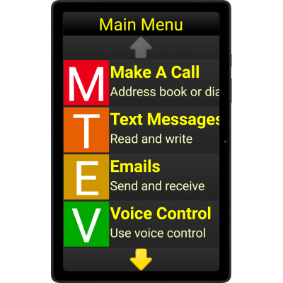 Screen of Synnaptic silver table screen showing main menu