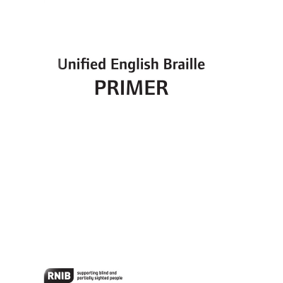 Front cover for UEB primer in braille