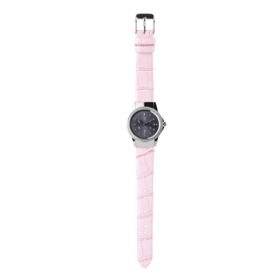 A stainless steel ladies watch with pink leather strap and charcoal toned dial with strap buckled