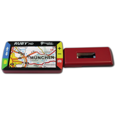 Ruby HD portable video magnifier with the handle extended