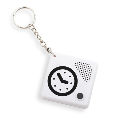 White square talking clock on a keychain