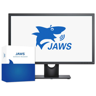 JAWS Home software packaging with talking cartoon shark.