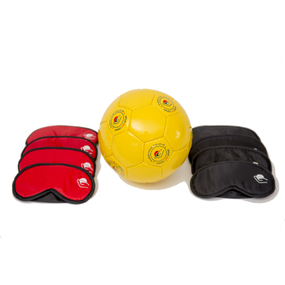 Blind Football start up kit including masks and ball against a white background