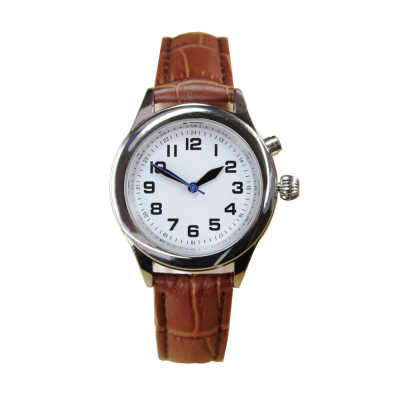 Front view of  RNIB small talking watch with brown leather strap