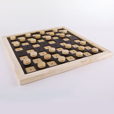 Tactile wooden draughts set with pieces ready to play