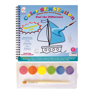 Tactile colouring book with a boat illustration on the front cover