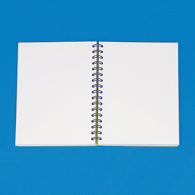 Open spiral-bound note pad
