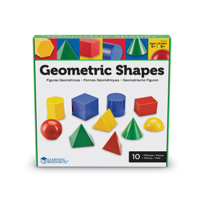 Front view of boxed bright geometric shapes